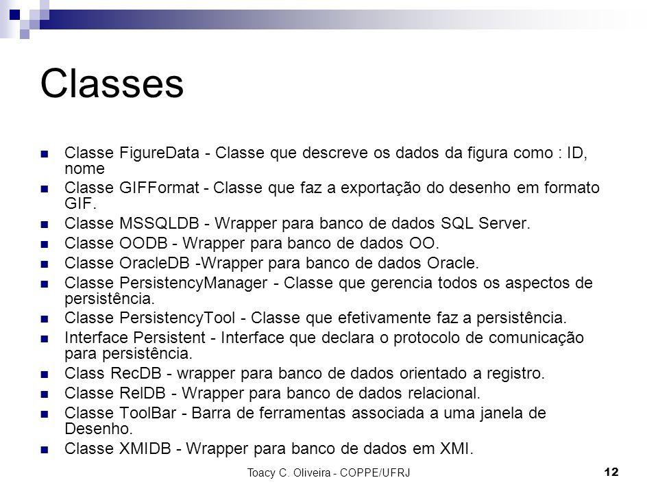 Toacy C. Oliveira - COPPE/UFRJ 12 Classes Classe FigureData - Classe que descreve os dados da figura como : ID, nome Classe GIFFormat - Classe que faz