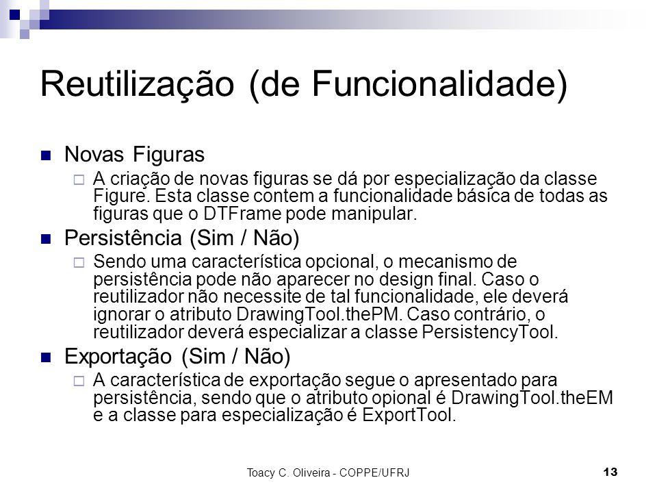 Toacy C. Oliveira - COPPE/UFRJ 13 Reutilização (de Funcionalidade) Novas Figuras A criação de novas figuras se dá por especialização da classe Figure.