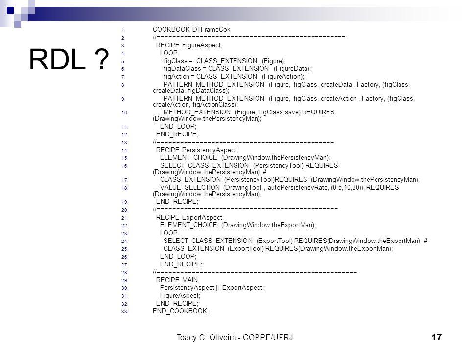 Toacy C. Oliveira - COPPE/UFRJ 17 RDL ? 1. COOKBOOK DTFrameCok 2. //================================================= 3. RECIPE FigureAspect; 4. LOOP
