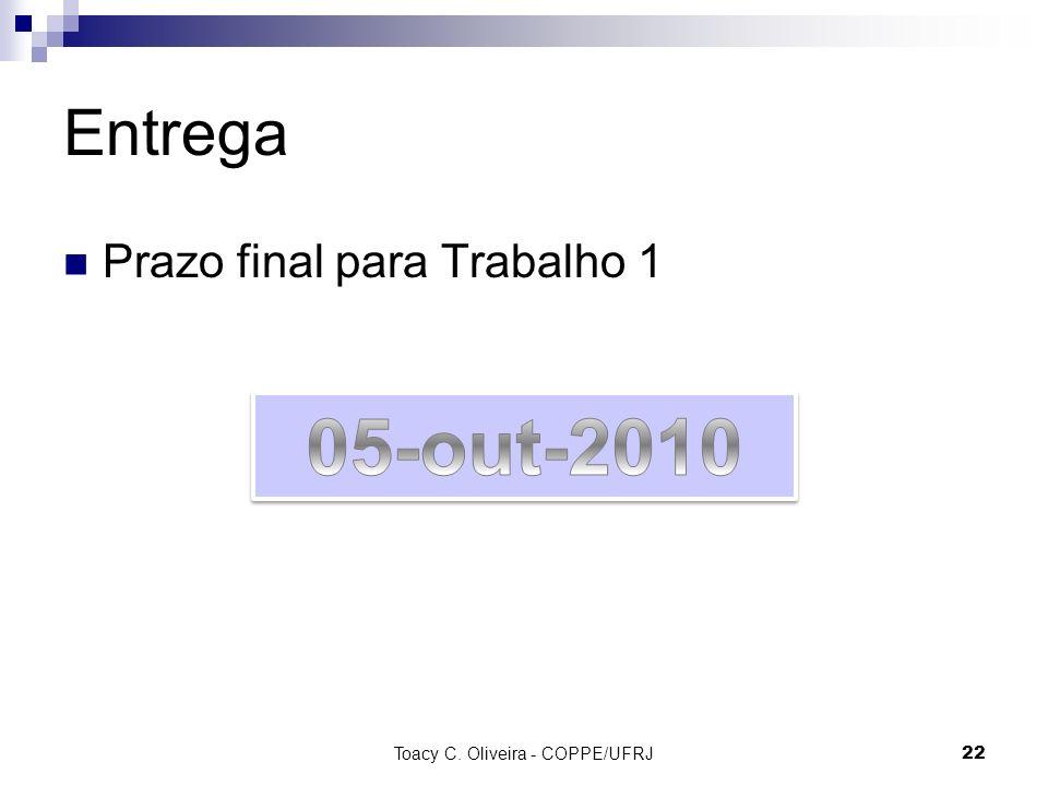 Entrega Prazo final para Trabalho 1 Toacy C. Oliveira - COPPE/UFRJ 22