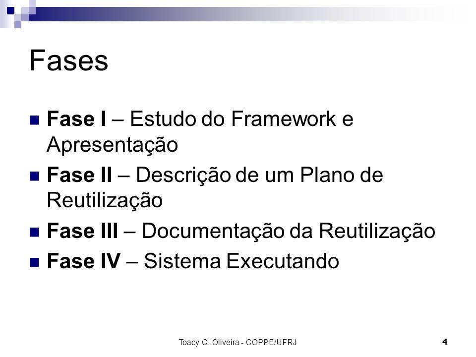 Toacy C. Oliveira - COPPE/UFRJ 4 Fases Fase I – Estudo do Framework e Apresentação Fase II – Descrição de um Plano de Reutilização Fase III – Document