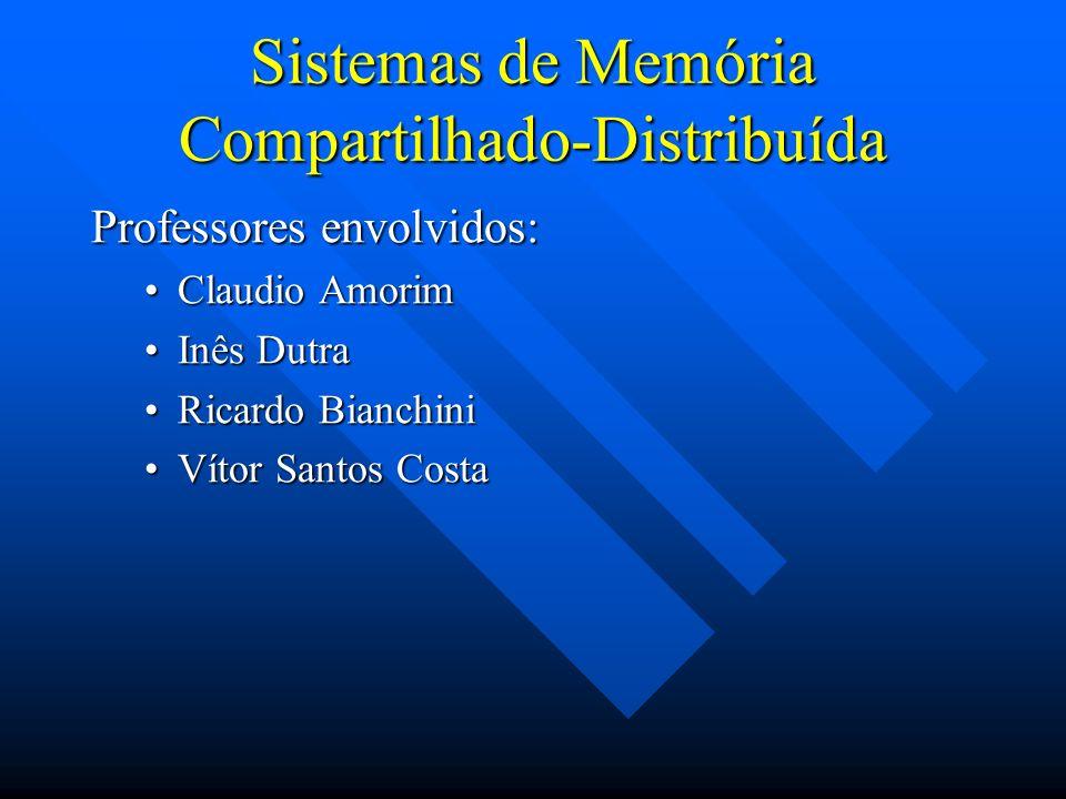Sistemas de Memória Compartilhado-Distribuída Professores envolvidos: Claudio AmorimClaudio Amorim Inês DutraInês Dutra Ricardo BianchiniRicardo Bianc