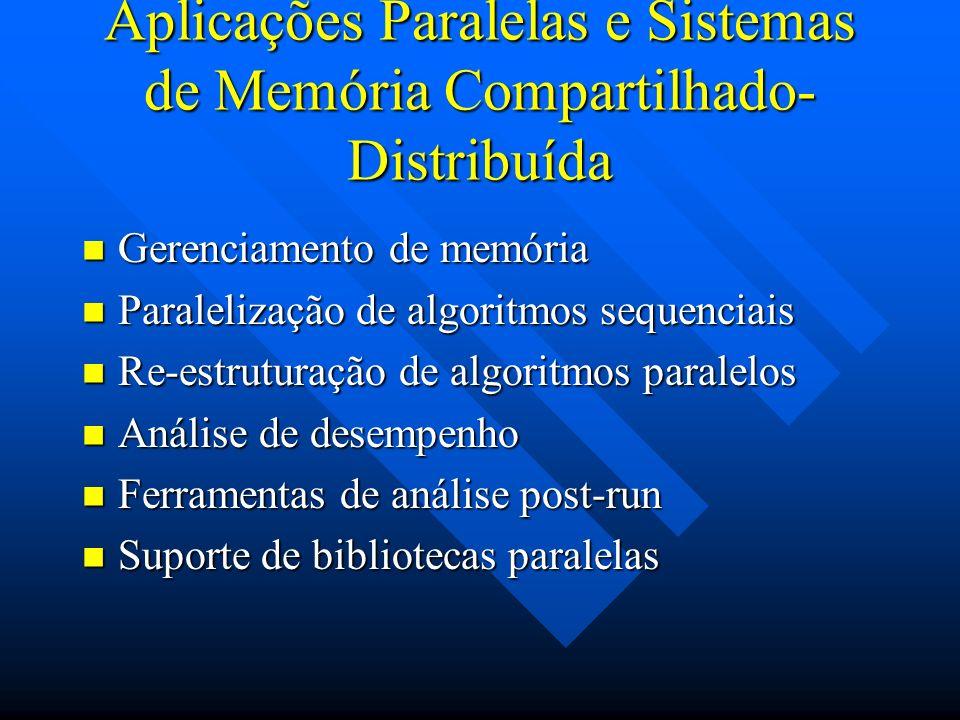 Aplicações Paralelas e Sistemas de Memória Compartilhado- Distribuída Gerenciamento de memória Gerenciamento de memória Paralelização de algoritmos se