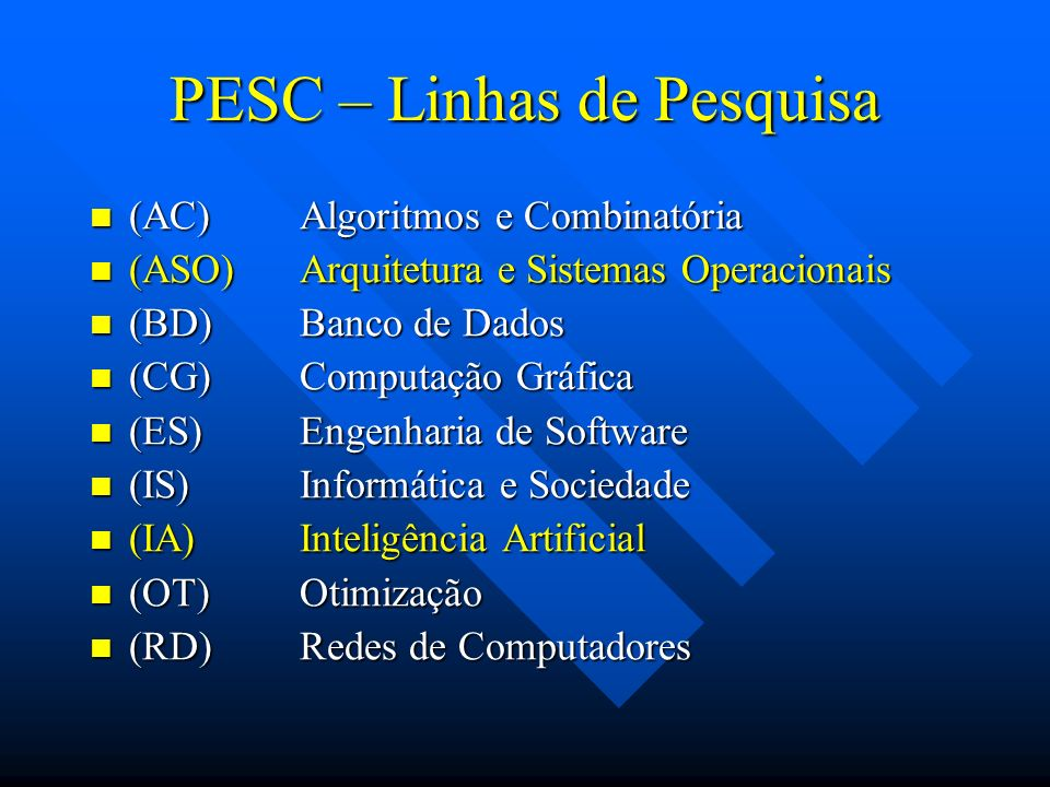 Lab-PESC Equipamentos (aprox 300) Máquinas Pentium com Solaris, Linux e Windows 98 Máquinas Pentium com Solaris, Linux e Windows 98 Máquinas Sun (sparc5, 20 e ultra 1 e 5) com Solaris Máquinas Sun (sparc5, 20 e ultra 1 e 5) com Solaris Máquinas IBM r6k e PowerPC com AIX Máquinas IBM r6k e PowerPC com AIX Impressoras HP e Canon Impressoras HP e Canon Scanners Scanners Switches, roteadores e hubs Switches, roteadores e hubs