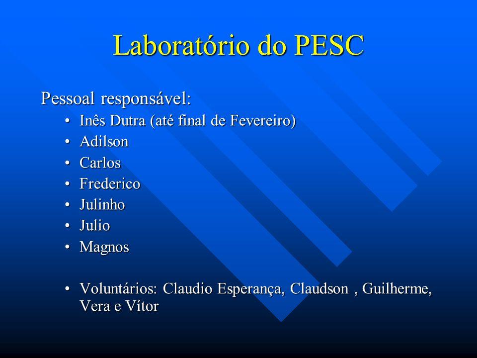 Laboratório do PESC Pessoal responsável: Inês Dutra (até final de Fevereiro)Inês Dutra (até final de Fevereiro) AdilsonAdilson CarlosCarlos FredericoF