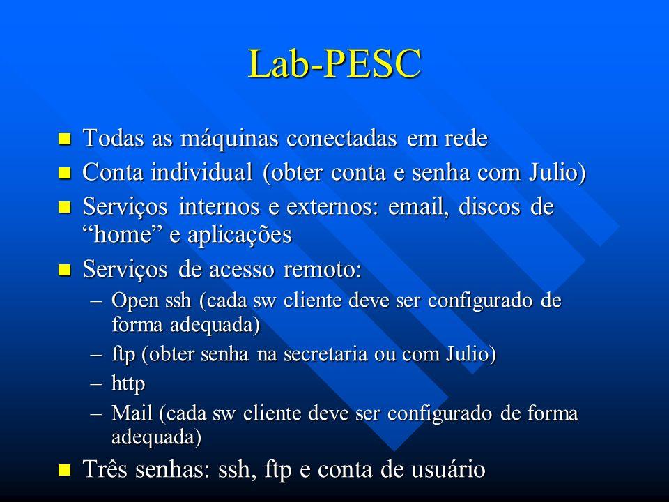Lab-PESC Todas as máquinas conectadas em rede Todas as máquinas conectadas em rede Conta individual (obter conta e senha com Julio) Conta individual (