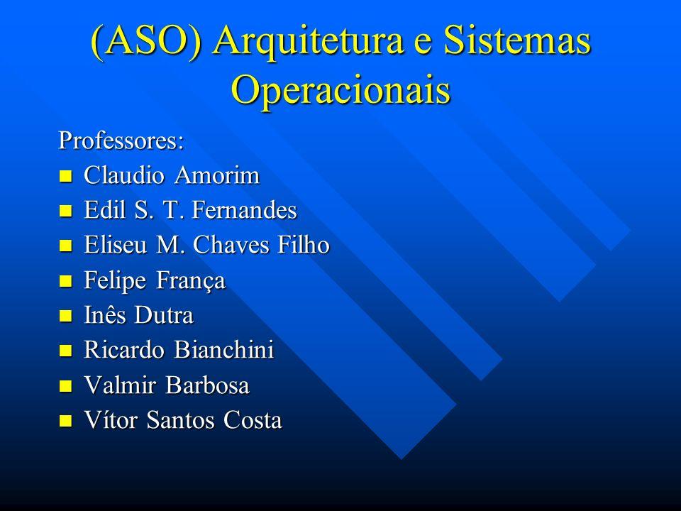 (ASO) Arquitetura e Sistemas Operacionais Professores: Claudio Amorim Claudio Amorim Edil S. T. Fernandes Edil S. T. Fernandes Eliseu M. Chaves Filho