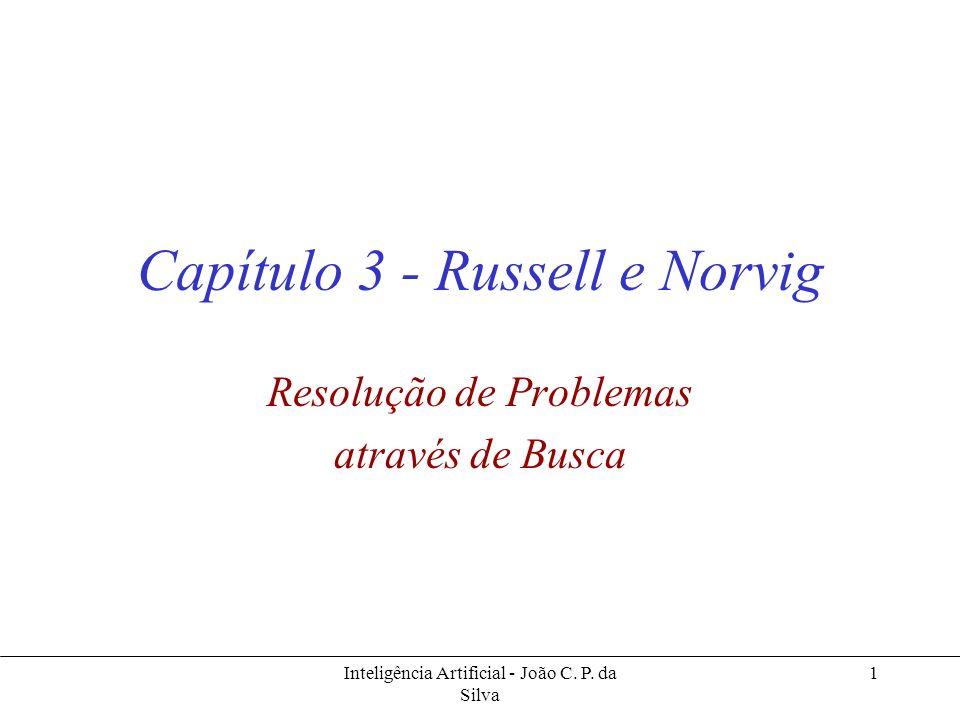 Inteligência Artificial - João C. P. da Silva 1 Capítulo 3 - Russell e Norvig Resolução de Problemas através de Busca