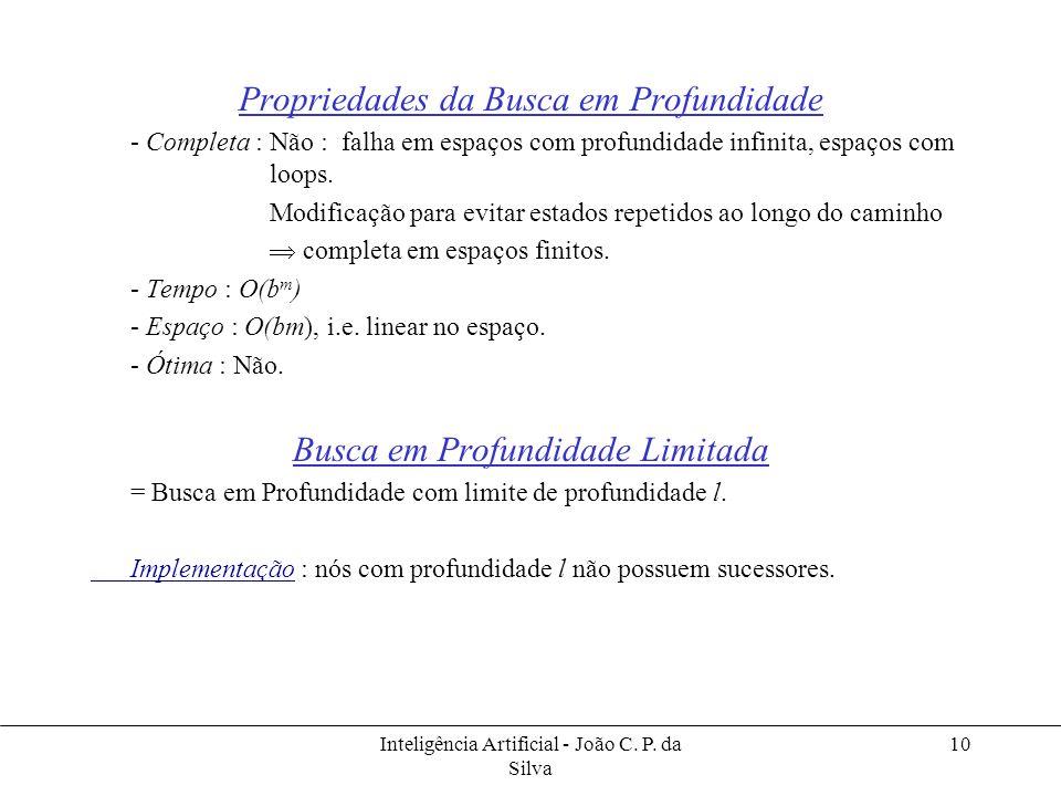 Inteligência Artificial - João C. P. da Silva 10 Propriedades da Busca em Profundidade - Completa : Não : falha em espaços com profundidade infinita,