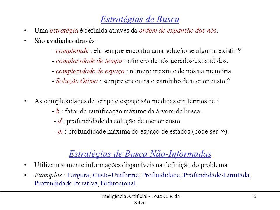 Inteligência Artificial - João C. P. da Silva 6 Estratégias de Busca Uma estratégia é definida através da ordem de expansão dos nós. São avaliadas atr