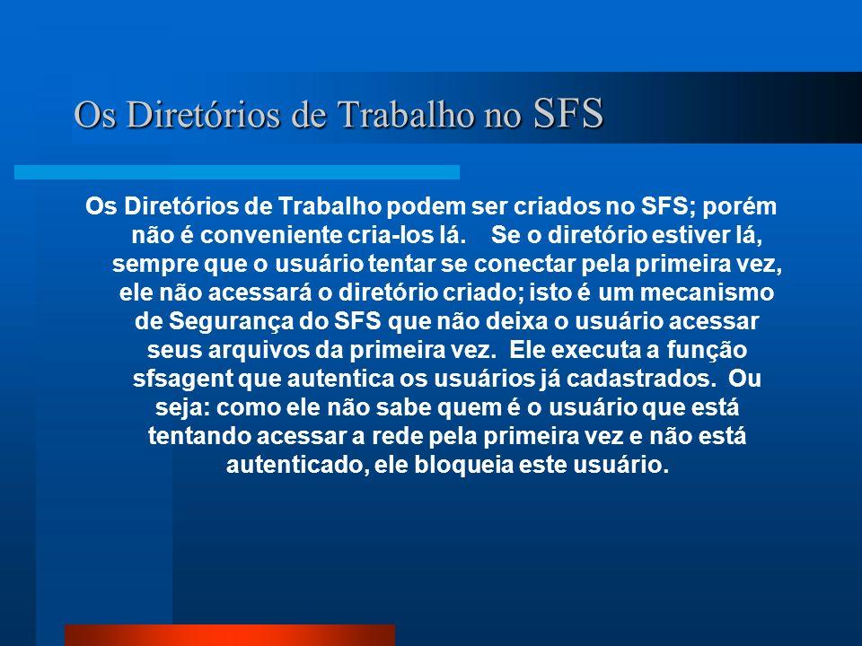 Os Diretórios de Trabalho no SFS Os Diretórios de Trabalho podem ser criados no SFS; porém não é conveniente cria-los lá. Se o diretório estiver lá, s