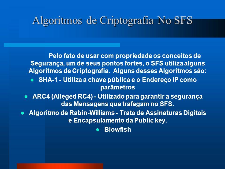 Algoritmos de Criptografia No SFS Pelo fato de usar com propriedade os conceitos de Segurança, um de seus pontos fortes, o SFS utiliza alguns Algoritm