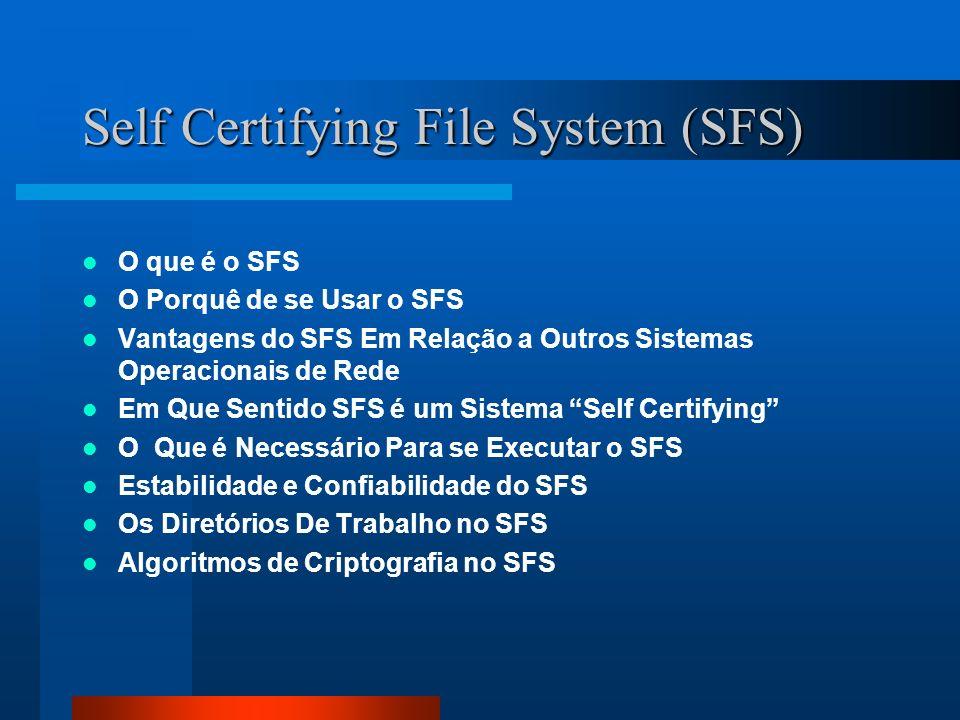 Self Certifying File System (SFS) O que é o SFS O Porquê de se Usar o SFS Vantagens do SFS Em Relação a Outros Sistemas Operacionais de Rede Em Que Se