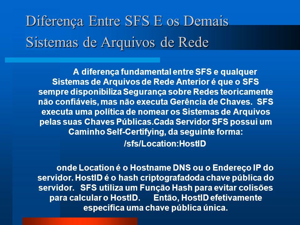 Diferença Entre SFS E os Demais Sistemas de Arquivos de Rede A diferença fundamental entre SFS e qualquer Sistemas de Arquivos de Rede Anterior é que