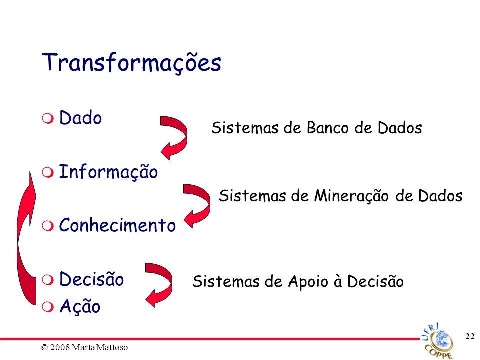 © 2008 Marta Mattoso 22 Transformações Dado Informação Conhecimento Decisão Ação Sistemas de Banco de Dados Sistemas de Mineração de Dados Sistemas de