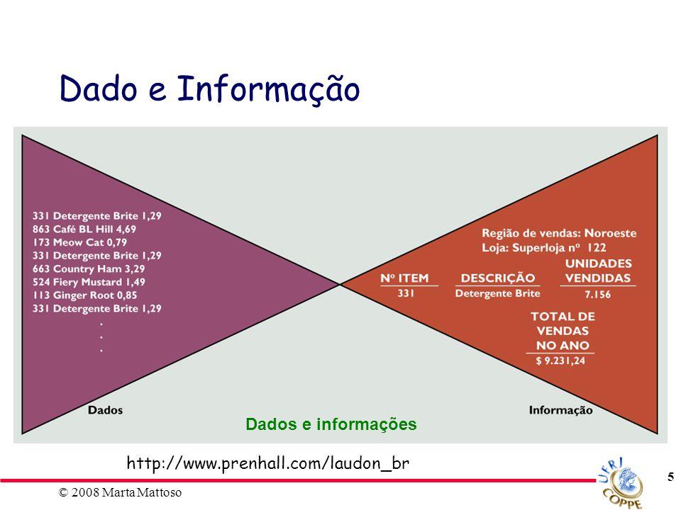 © 2008 Marta Mattoso 6 Dado Coordenadas (x, y, z), atributos Informação Mapas Gráficos (Excel) Dado e Informação