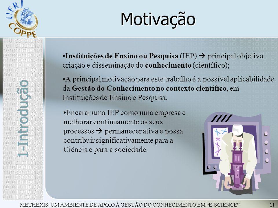 METHEXIS: UM AMBIENTE DE APOIO À GESTÃO DO CONHECIMENTO EM E-SCIENCE11 Motivação Instituições de Ensino ou Pesquisa (IEP) principal objetivo criação e