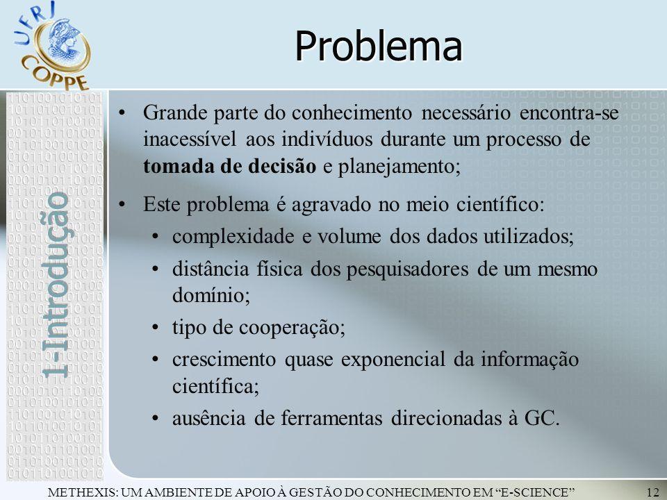 METHEXIS: UM AMBIENTE DE APOIO À GESTÃO DO CONHECIMENTO EM E-SCIENCE12 Problema Grande parte do conhecimento necessário encontra-se inacessível aos in