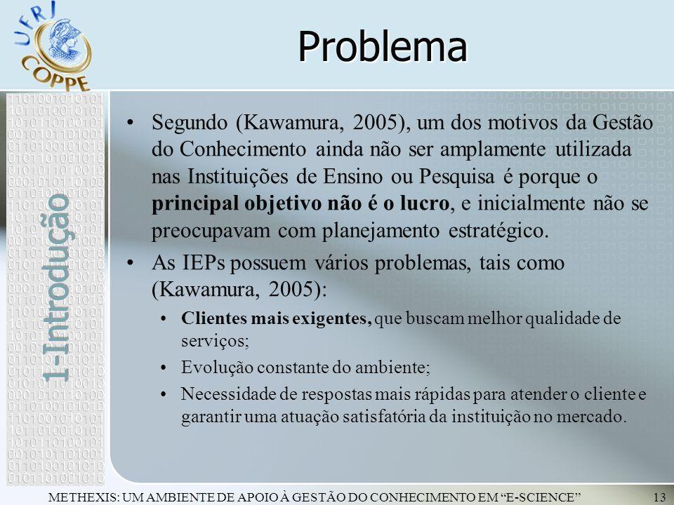 METHEXIS: UM AMBIENTE DE APOIO À GESTÃO DO CONHECIMENTO EM E-SCIENCE13 Problema Segundo (Kawamura, 2005), um dos motivos da Gestão do Conhecimento ain