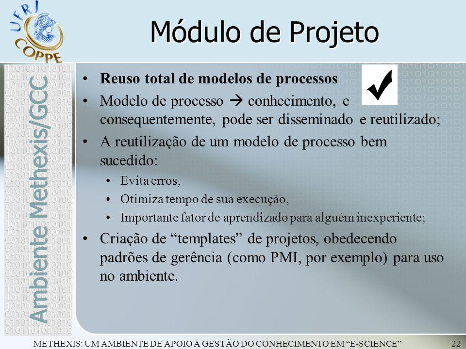 METHEXIS: UM AMBIENTE DE APOIO À GESTÃO DO CONHECIMENTO EM E-SCIENCE22 Reuso total de modelos de processos Modelo de processo conhecimento, e conseque