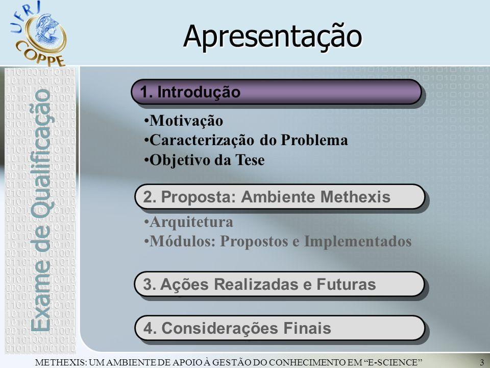 METHEXIS: UM AMBIENTE DE APOIO À GESTÃO DO CONHECIMENTO EM E-SCIENCE3 Apresentação 1. Introdução 2. Proposta: Ambiente Methexis Motivação Caracterizaç