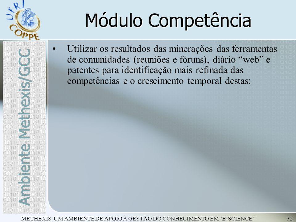 METHEXIS: UM AMBIENTE DE APOIO À GESTÃO DO CONHECIMENTO EM E-SCIENCE32 Utilizar os resultados das minerações das ferramentas de comunidades (reuniões
