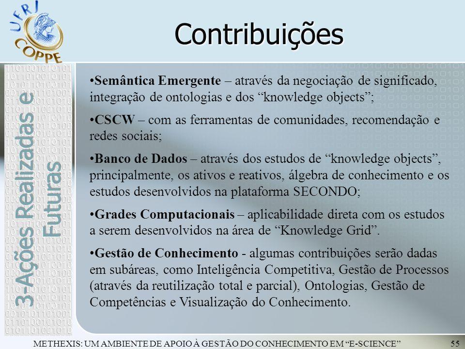 METHEXIS: UM AMBIENTE DE APOIO À GESTÃO DO CONHECIMENTO EM E-SCIENCE55 Contribuições Semântica Emergente – através da negociação de significado, integ