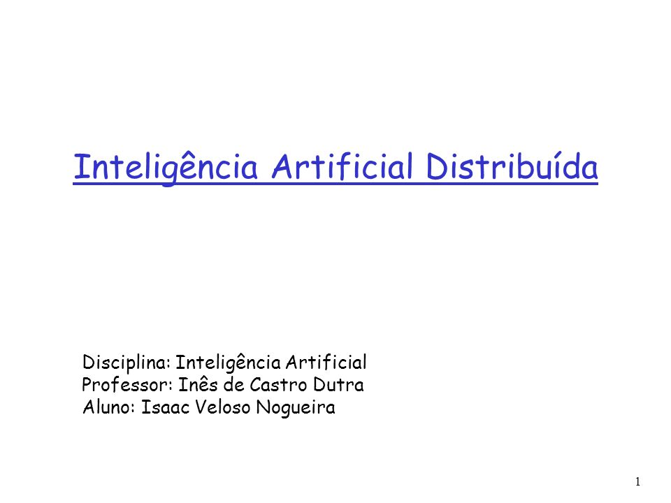 1 Referências Distributed Problem Solving and Multi-Agent Systems: comparison and examples E.