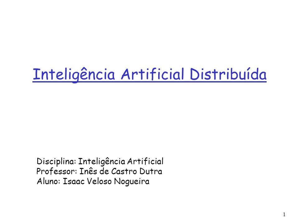 1 Tópicos Introdução Inteligência Artificial Distribuída (DAI) Sistemas Multi-Agentes (MAS) Resolução Distribuída de Problemas (DPS) Aplicações e trabalhos relacionados Referências