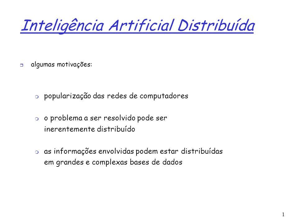 1 Inteligência Artificial Distribuída característica importante: não há controle central o controle é distribuído a base de conhecimento/informação também pode estar geograficamente distribuída