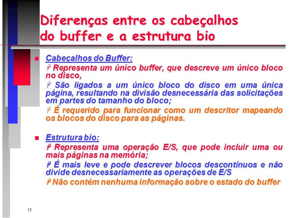 13 Diferenças entre os cabeçalhos do buffer e a estrutura bio n Cabeçalhos do Buffer: Representa um único buffer, que descreve um único bloco no disco, Representa um único buffer, que descreve um único bloco no disco, São ligados a um único bloco do disco em uma única página, resultando na divisão desnecessária das solicitações em partes do tamanho do bloco; São ligados a um único bloco do disco em uma única página, resultando na divisão desnecessária das solicitações em partes do tamanho do bloco; É requerido para funcionar como um descritor mapeando os blocos do disco para as páginas.