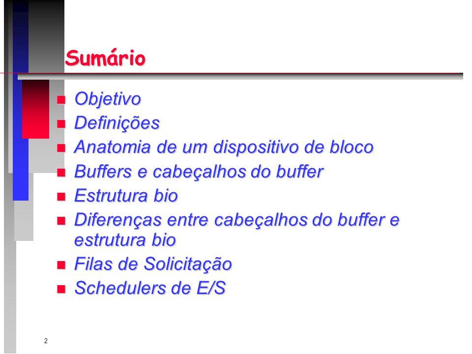 2 Sumário n Objetivo n Definições n Anatomia de um dispositivo de bloco n Buffers e cabeçalhos do buffer n Estrutura bio n Diferenças entre cabeçalhos do buffer e estrutura bio n Filas de Solicitação n Schedulers de E/S