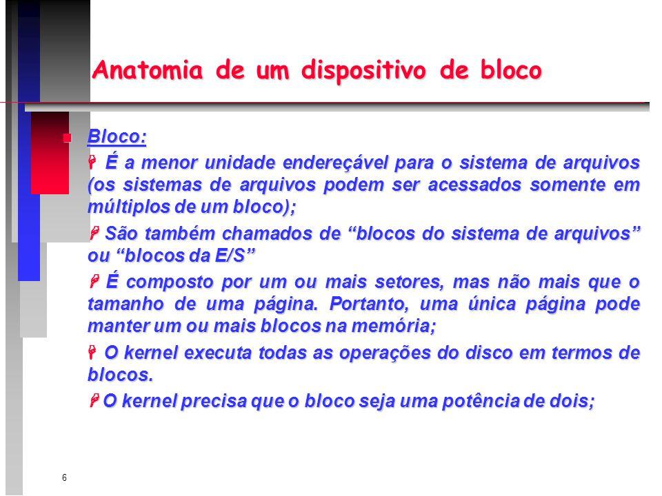 6 Anatomia de um dispositivo de bloco n Bloco: É a menor unidade endereçável para o sistema de arquivos (os sistemas de arquivos podem ser acessados somente em múltiplos de um bloco); São também chamados de blocos do sistema de arquivos ou blocos da E/S São também chamados de blocos do sistema de arquivos ou blocos da E/S É composto por um ou mais setores, mas não mais que o tamanho de uma página.