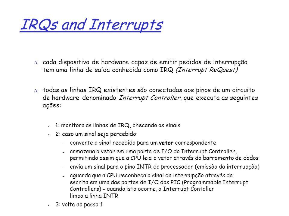 1 IRQs and Interrupts cada dispositivo de hardware capaz de emitir pedidos de interrupção tem uma linha de saída conhecida como IRQ (Interrupt ReQuest