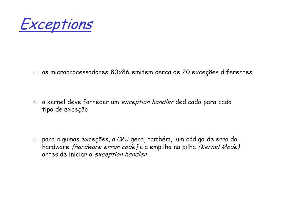 1 Exceptions os microprocessadores 80x86 emitem cerca de 20 exceções diferentes o kernel deve fornecer um exception handler dedicado para cada tipo de