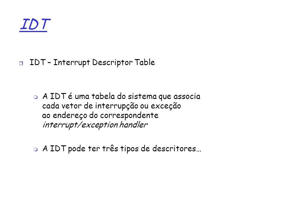 1 IDT IDT – Interrupt Descriptor Table A IDT é uma tabela do sistema que associa cada vetor de interrupção ou exceção ao endereço do correspondente in