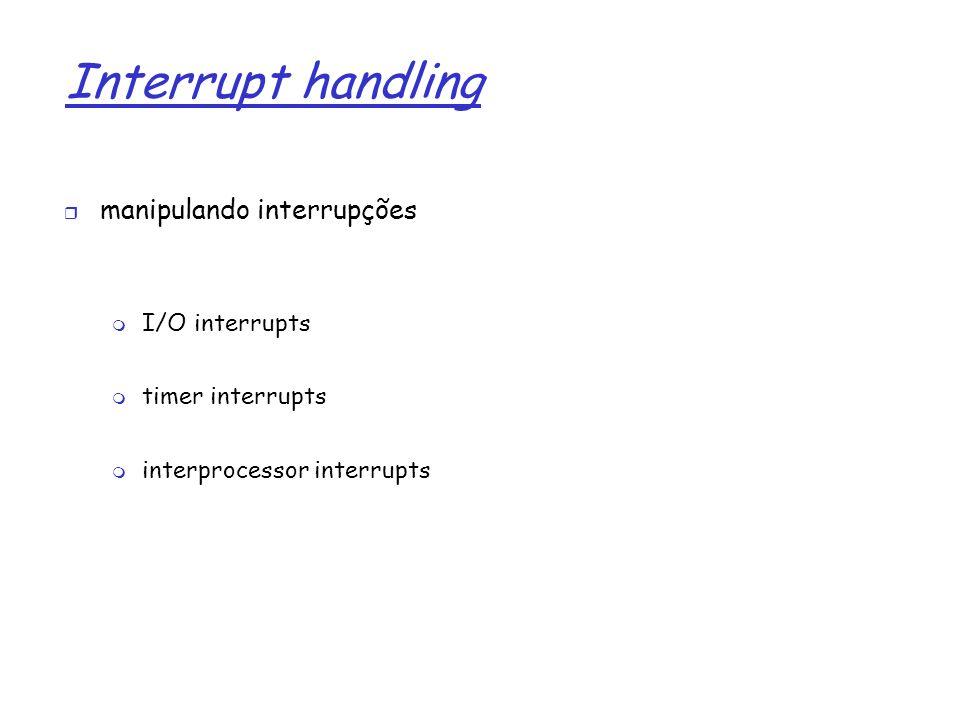 1 Interrupt handling manipulando interrupções I/O interrupts timer interrupts interprocessor interrupts