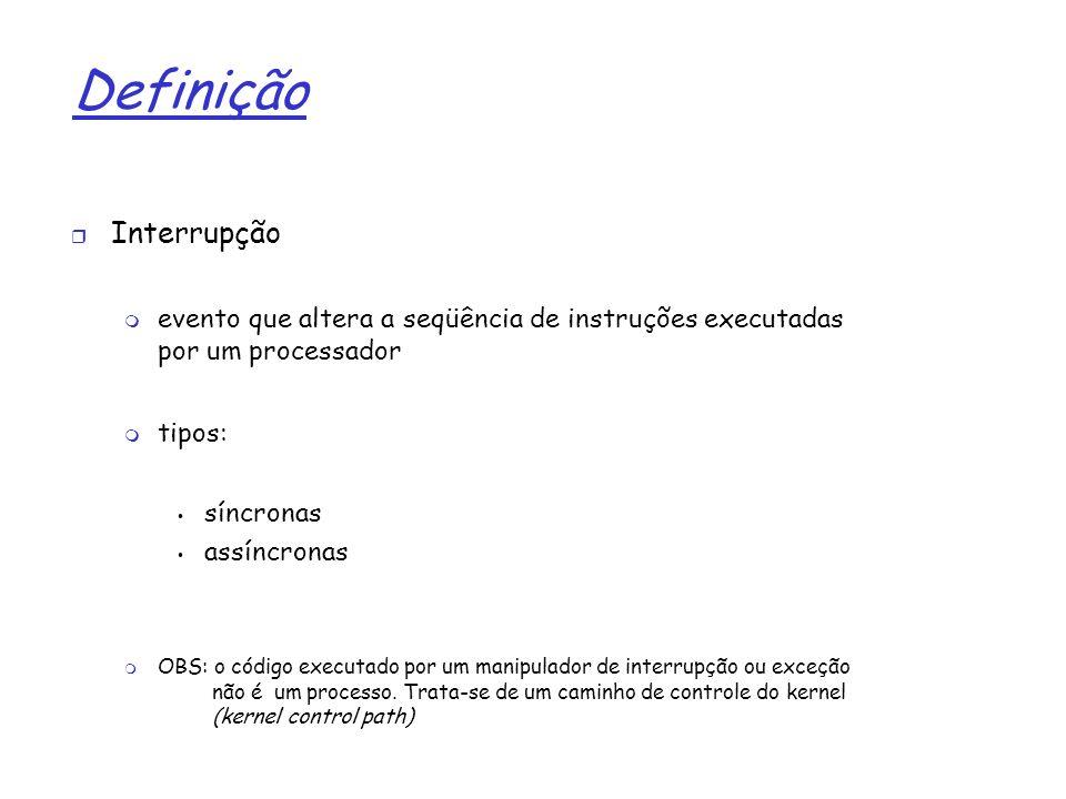 1 Definição Interrupção evento que altera a seqüência de instruções executadas por um processador tipos: síncronas assíncronas OBS: o código executado