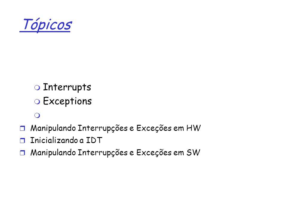 1 Tópicos Interrupts Exceptions Manipulando Interrupções e Exceções em HW Inicializando a IDT Manipulando Interrupções e Exceções em SW