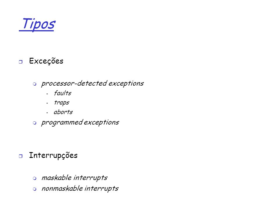 1 Tópicos how IRQ give rise to interrupts Interrupções e Exceções how 80x86 processors handle interrupts and exceptions at the HW level Nested execution of exception and interrupt handlers how Linux initializes the data structures requiered by the Intel interrupt architecture Exception handling Interrupt handling how Linux handles interrupt signals at the SW level