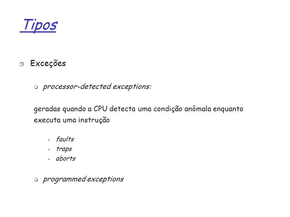 1 Tipos Exceções processor-detected exceptions: geradas quando a CPU detecta uma condição anômala enquanto executa uma instrução faults traps aborts p