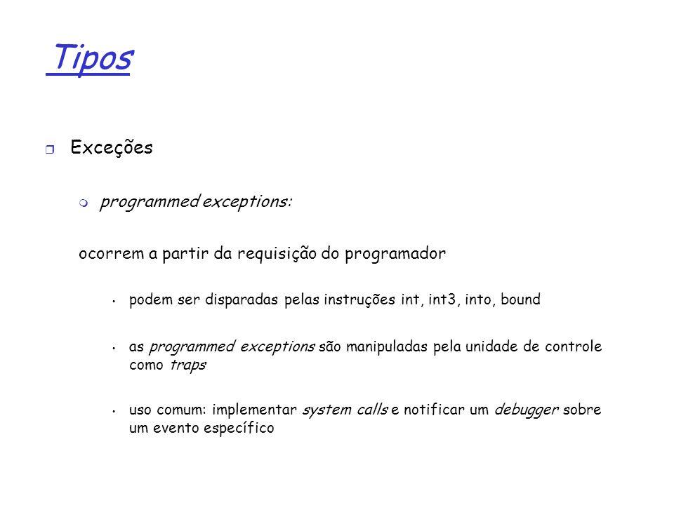 1 Tipos Exceções programmed exceptions: ocorrem a partir da requisição do programador podem ser disparadas pelas instruções int, int3, into, bound as