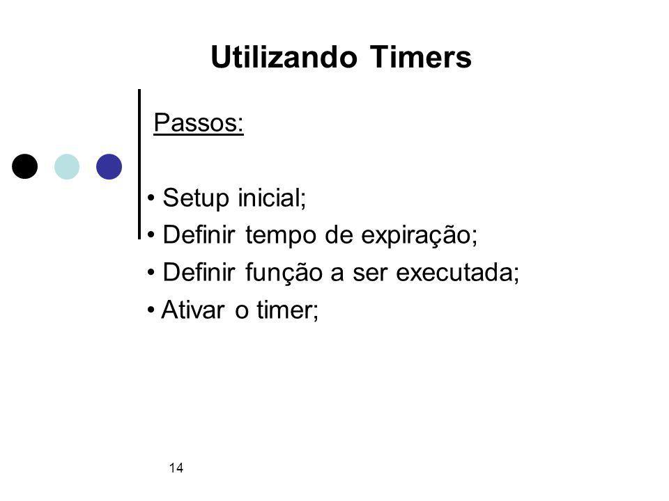 14 Utilizando Timers Passos: Setup inicial; Definir tempo de expiração; Definir função a ser executada; Ativar o timer;
