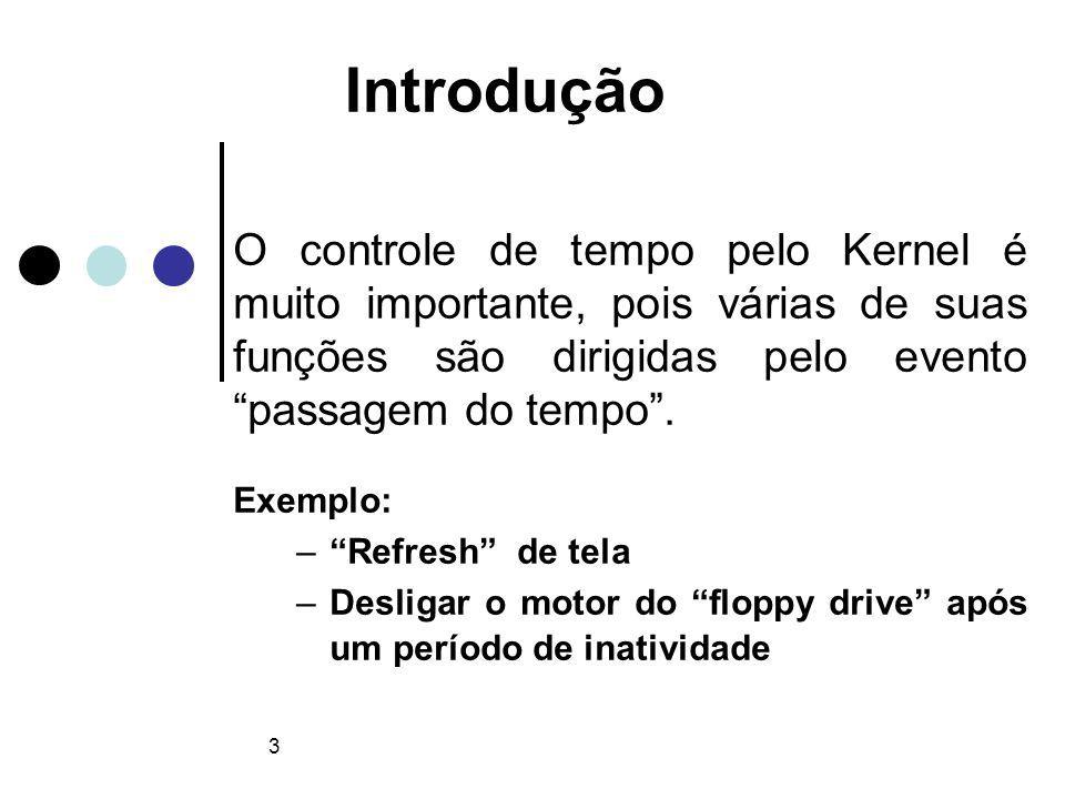 4 Conceitos Timer ou temporizador: hw utilizado pelo Kernel para controlar a passagem do tempo; Tick rate: freqüência de operação do timer (HZ); Ex: i386 HZ=1000 hertz Tick: tempo discorrido entre duas interrupções de tempo sucessivas (período de 1/HZ segundos);