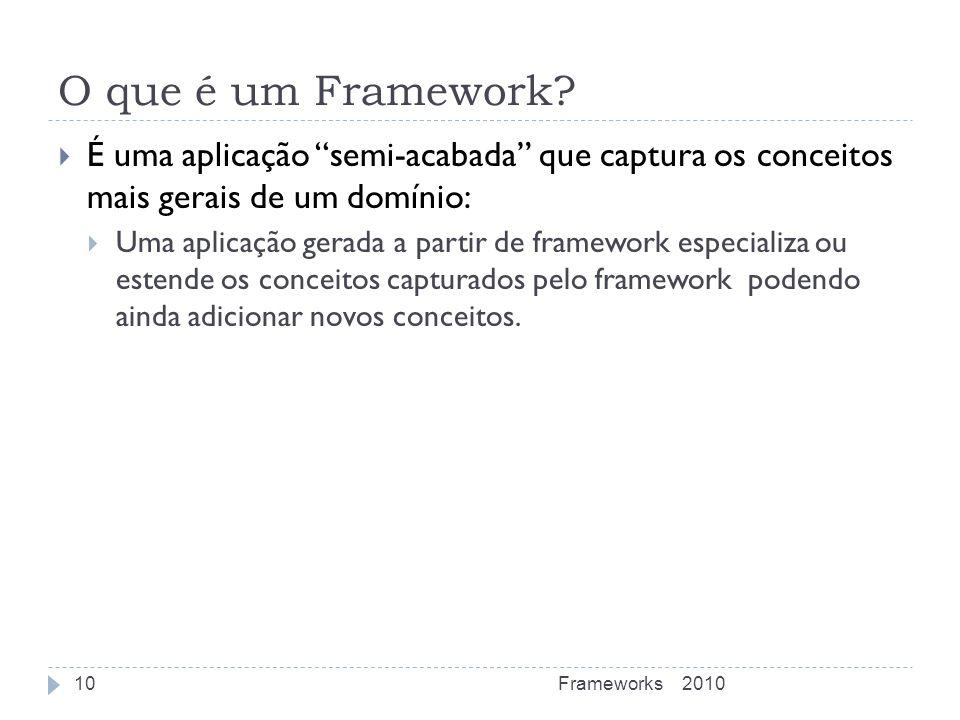 O que é um Framework? É uma aplicação semi-acabada que captura os conceitos mais gerais de um domínio: Uma aplicação gerada a partir de framework espe