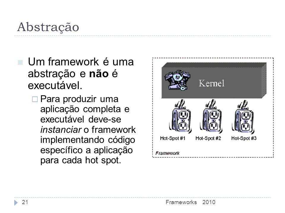 Abstração Um framework é uma abstração e não é executável. Para produzir uma aplicação completa e executável deve-se instanciar o framework implementa