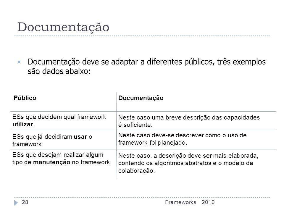 Documentação deve se adaptar a diferentes públicos, três exemplos são dados abaixo: Neste caso deve-se descrever como o uso de framework foi planejado