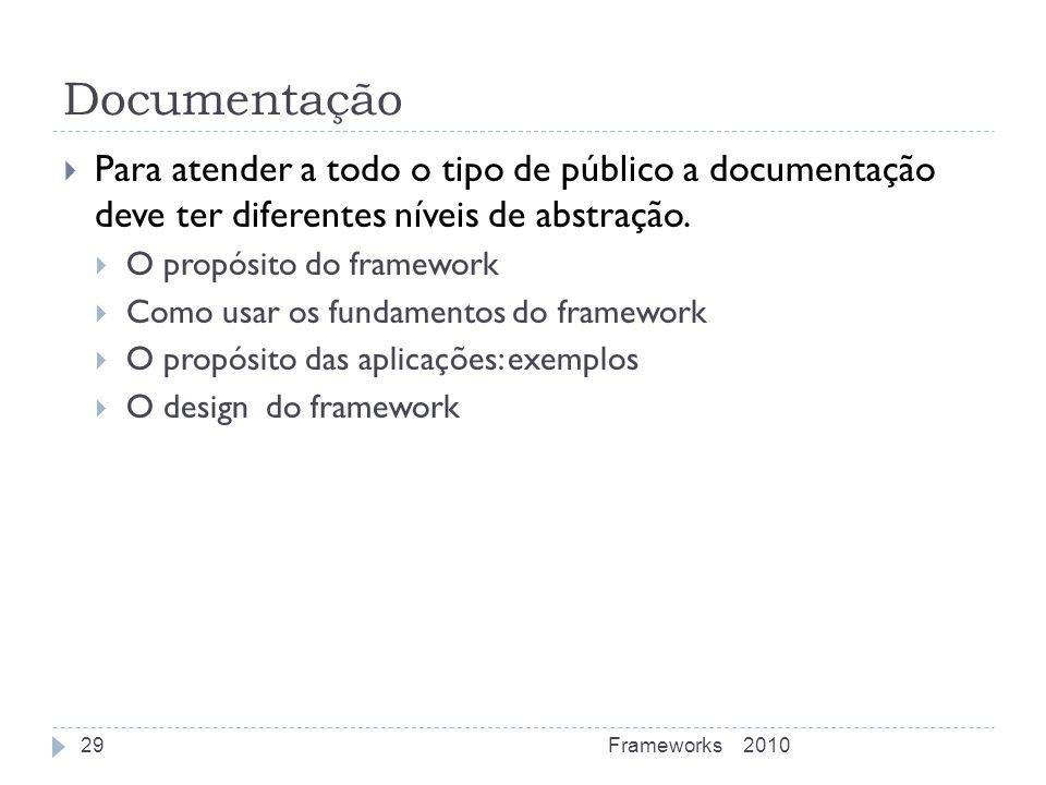 Documentação Para atender a todo o tipo de público a documentação deve ter diferentes níveis de abstração. O propósito do framework Como usar os funda