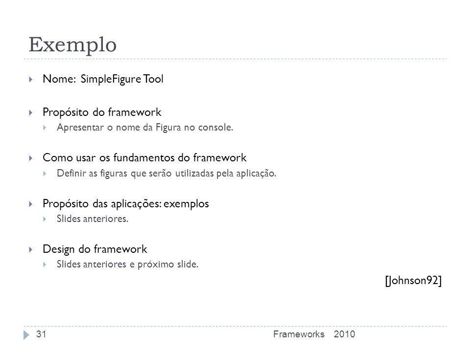 Exemplo 2010Frameworks31 Nome: SimpleFigure Tool Propósito do framework Apresentar o nome da Figura no console. Como usar os fundamentos do framework