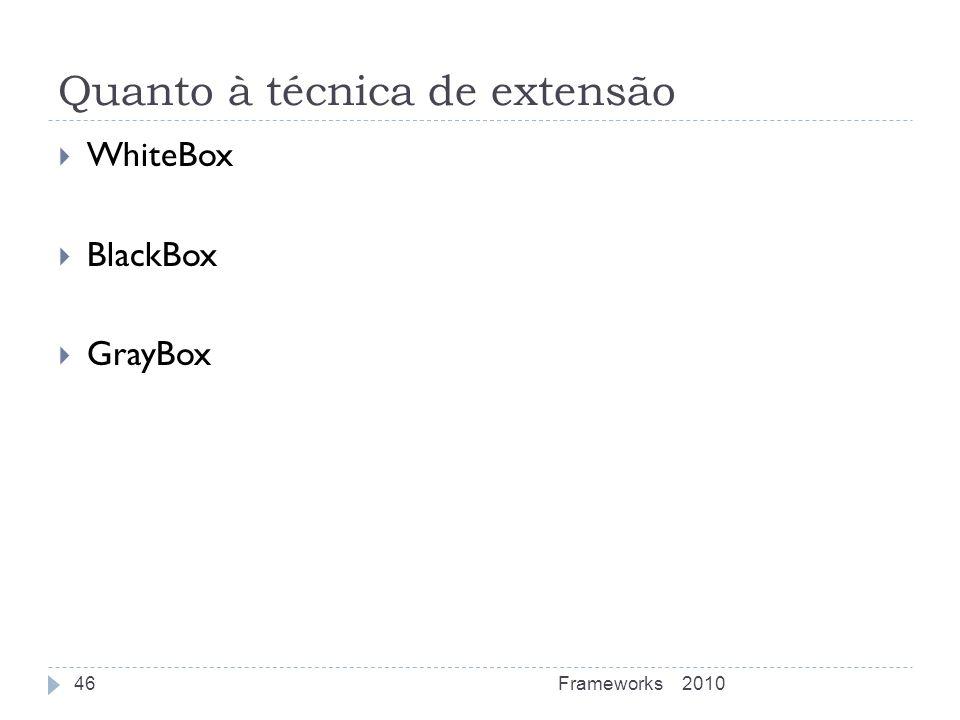 Quanto à técnica de extensão WhiteBox BlackBox GrayBox 2010Frameworks46